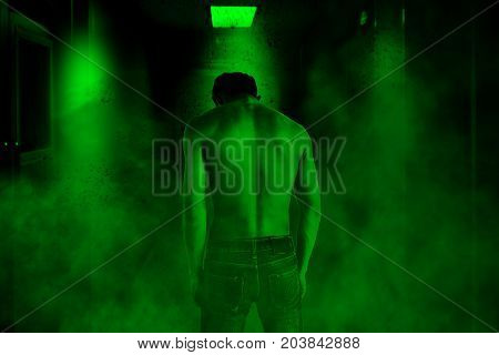 Devil in the haunted house,Horror concept background