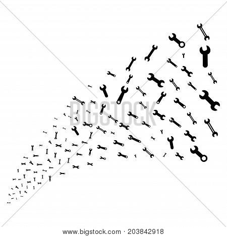 Source stream of spanners and wrenches symbols. Vector illustration style is flat black iconic spanners and wrenches symbols on a white background. Object fountain combined from symbols.