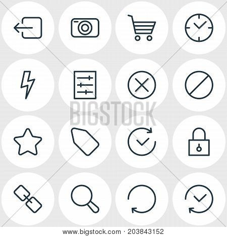 Editable Pack Of Reload, Locked, Photo Apparatus And Other Elements.  Vector Illustration Of 16 Application Icons.