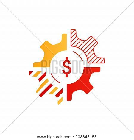Technology business concept logo. Finances and investment strategy. Diversification icon. Flat design vector illustration