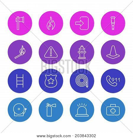 Editable Pack Of Hosepipe, Hotline, Medical Case And Other Elements.  Vector Illustration Of 16 Necessity Icons.