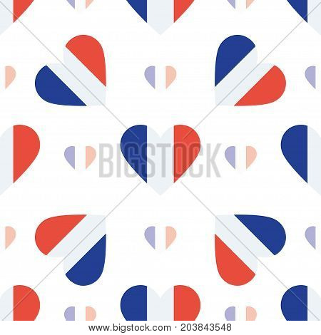 Reunion Flag Patriotic Seamless Pattern. National Flag In The Shape Of Heart. Vector Illustration.
