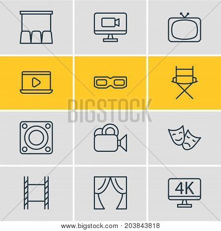Editable Pack Of Resolution, Shooting Seat, Camera And Other Elements.  Vector Illustration Of 12 Cinema Icons.
