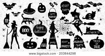 Halloween Silhouettes. Witch, Pumpkin, Black Cat.halloween Party. Spider Sticker. Trick Or Treat.