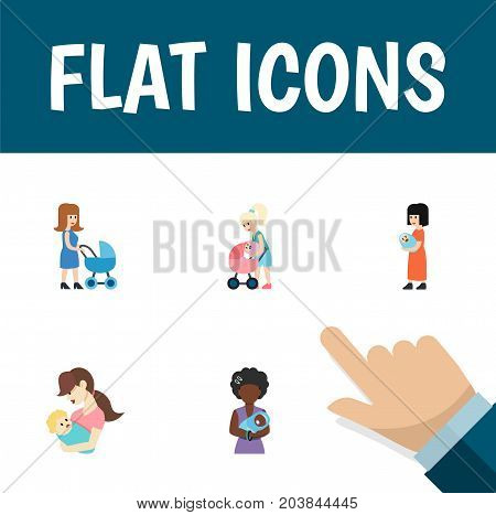Flat Icon Mam Set Of Mother, Child, Perambulator And Other Vector Objects