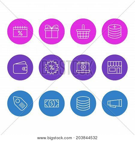 Editable Pack Of Coins, Pottle, Pocketbook And Other Elements.  Vector Illustration Of 12 Wholesale Icons.