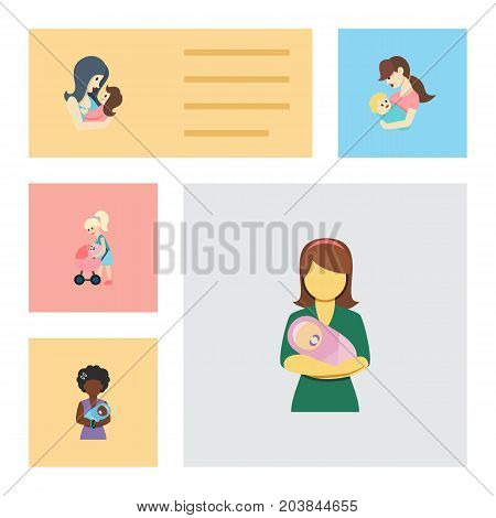 Flat Icon Mam Set Of Mother, Woman, Mam And Other Vector Objects
