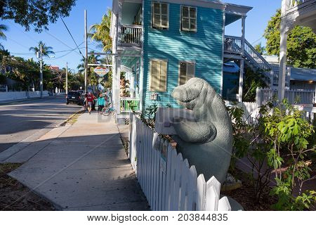 KEY WEST, FLORIDA USA - JANUARY 18, 2017: Manatee styled post box in downtown Key West.
