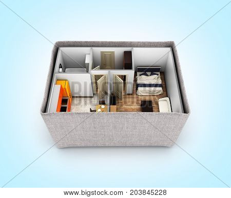 Interior Apartment Roofless Apartment Layout Inside The Box Concept Of Buying A Home Or Moving On Bl