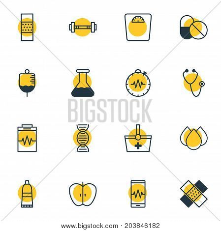 Editable Pack Of Basket, Antibody, Phone Monitor And Other Elements.  Vector Illustration Of 16 Medicine Icons.