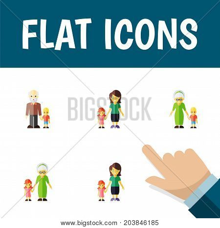 Flat Icon Family Set Of Grandchild, Grandson, Mother Vector Objects