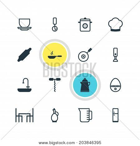 Editable Pack Of Frying Pan , Mixer, Washstand Elements.  Vector Illustration Of 16 Cooking Icons.