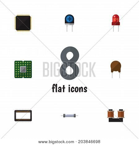 Flat Icon Technology Set Of Triode, Cpu, Transducer And Other Vector Objects