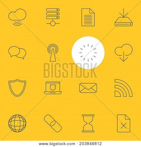 Editable Pack Of Waiting, Wireless Network, World And Other Elements.  Vector Illustration Of 16 Web Icons.