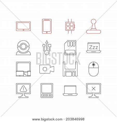 Editable Pack Of Laptop, Tablet, Modern Watch And Other Elements.  Vector Illustration Of 16 Laptop Icons.