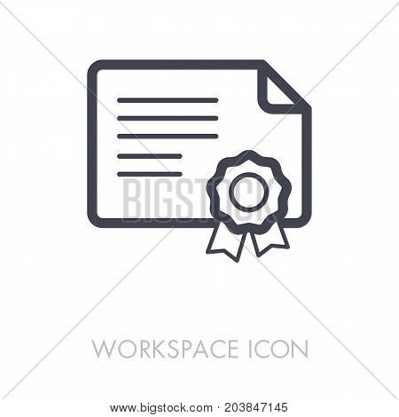Certified outline icon. Workspace sign. Graph symbol for your web site design logo app UI. Vector illustration EPS10.