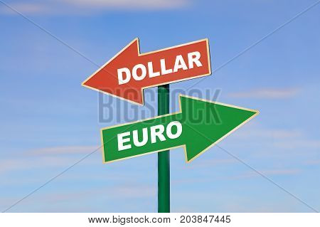 Road signpost with two different directions arrows left and right green Euro word up and red dollar down over clear blue sky low angle side view