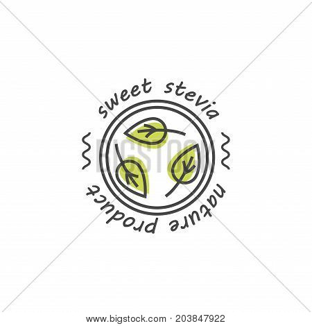 Vector linear stevia labels, logos, badges and icons. Natural sweetener design element. Organic stevia icon isolated. Eco safe stevia badge design.