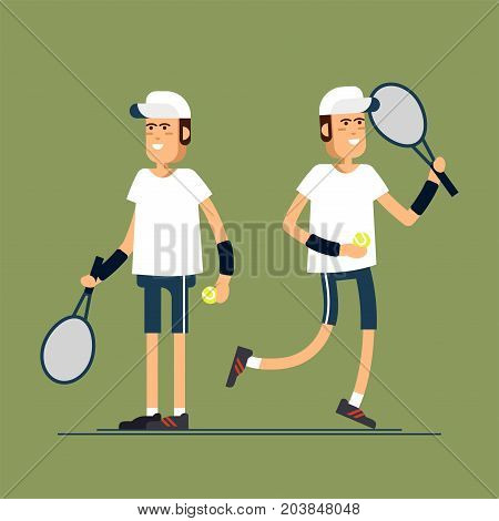 .Vector illustration male tennis players in sport uniforms. Equipped tennis player in white clothes with tennis racque , ball. Sport recreation.