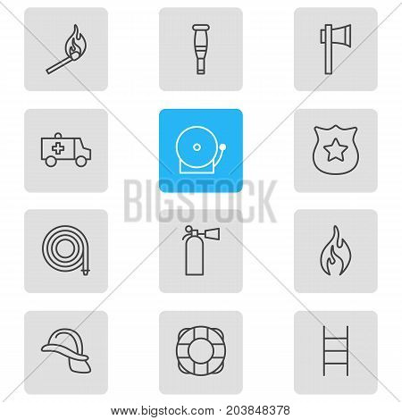 Editable Pack Of Hosepipe, First-Aid, Hardhat And Other Elements.  Vector Illustration Of 12 Necessity Icons.