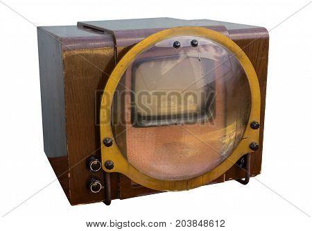Retro tv of soviet-made sample of 1958 isolated on white background