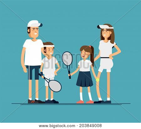 Vector illustration family tennis players in sport uniforms. Couple of equipped tennis players in white clothes with tennis racque , ball. Sport recreation.