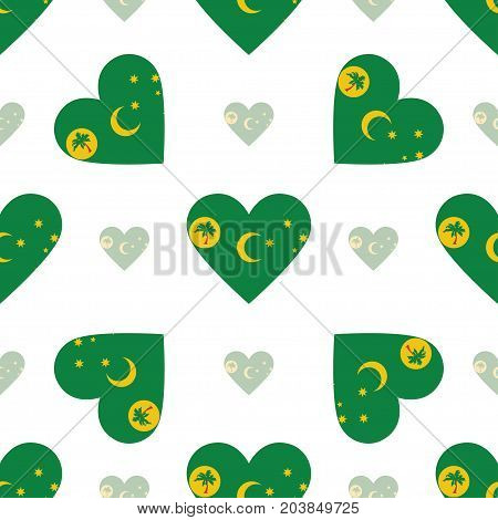 Cocos (keeling) Islands Flag Patriotic Seamless Pattern. National Flag In The Shape Of Heart. Vector