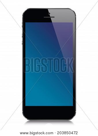 Black Smartphone in iphone design with blank screen isolated on white background.  Vector eps10 illustration