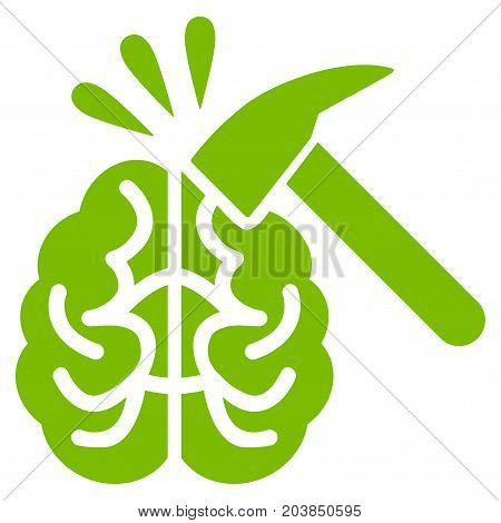 Brain Impact vector icon. Flat eco green symbol. Pictogram is isolated on a white background. Designed for web and software interfaces.