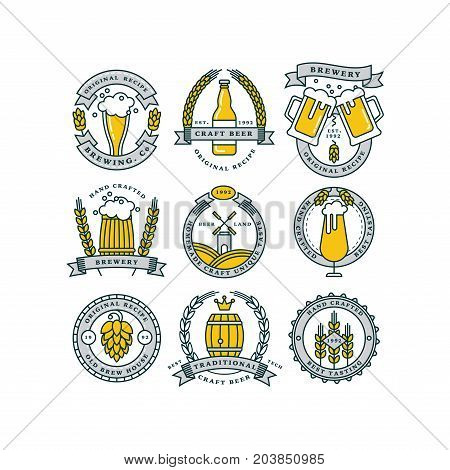 Set of linear yellow brewery logos. Labels with bottles and hops. Vintage craft beer retro design elements, emblems, symbols, and icons or pub labels, badges collection. Beer business signs template