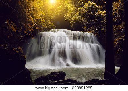 Landscape photo Erawan Waterfall beautiful waterfall in rainforest at Kanchanaburi province Thailand