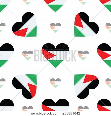 Palestine, State Of Flag Patriotic Seamless Pattern. National Flag In The Shape Of Heart. Vector Ill