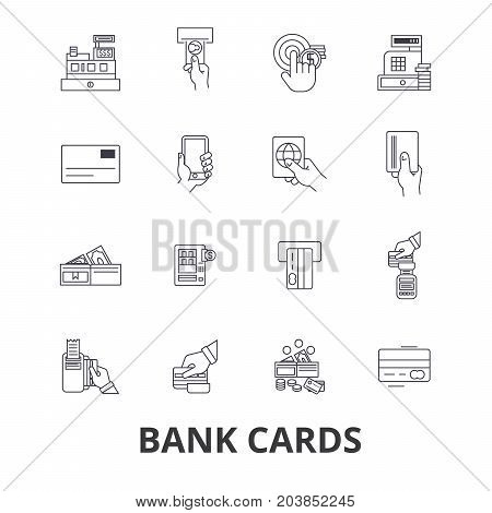 Bank cards, credit, debit, money, visa, own account, market, savings, deposit line icons. Editable strokes. Flat design vector illustration symbol concept. Linear signs isolated on background