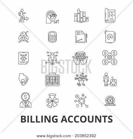 Billing accounts, paying bill, money, receipt, utility, debt, check, payment line icons. Editable strokes. Flat design vector illustration symbol concept. Linear signs isolated on background