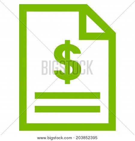 Invoice Page vector icon. Flat eco green symbol. Pictogram is isolated on a white background. Designed for web and software interfaces.
