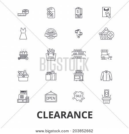 Clearance, sale, stock, custom, closeout, center, shopping, goods, retail shop line icons. Editable strokes. Flat design vector illustration symbol concept. Linear signs isolated on background