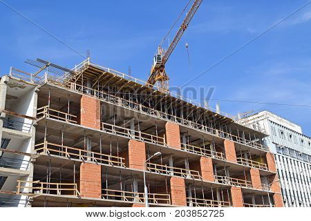 Construction of a new office building in the city