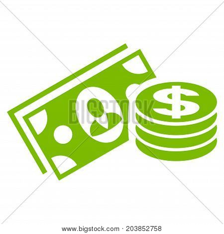 Money Cash vector icon. Flat eco green symbol. Pictogram is isolated on a white background. Designed for web and software interfaces.