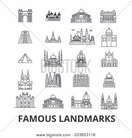 Famous landmark, sights, world place, world travel, tourism, vacation line icons. Editable strokes. Flat design vector illustration symbol concept. Linear signs isolated on background