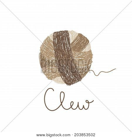 Vector logo template for wool shop in brown color. Illustration of hand drawn clew. Handmade. Hobby icon.