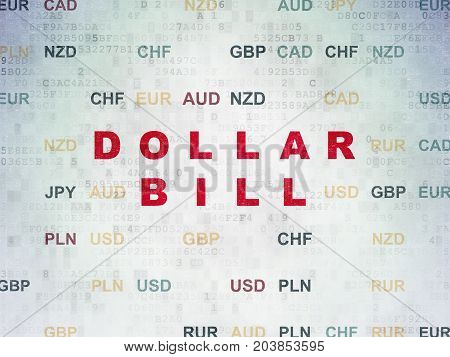 Banking concept: Painted red text Dollar Bill on Digital Data Paper background with Currency