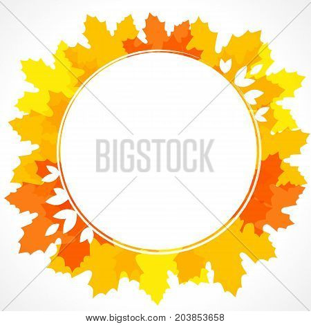 Seasonal frame design on orange maple leaves vector background for card, banner and autumn sale poster template. Autumn frame on orange and yellow maple leaves background