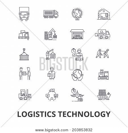 Logistics technology, transport, supply chain, delivery system, warehouse, cargo line icons. Editable strokes. Flat design vector illustration symbol concept. Linear signs isolated on background