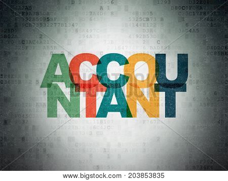 Currency concept: Painted multicolor text Accountant on Digital Data Paper background