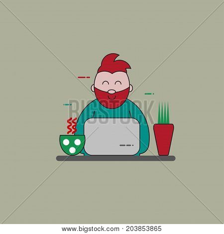 Flat cartoon character of bearded hipster programmer designer with laptop and work space isolated. Vector illustration