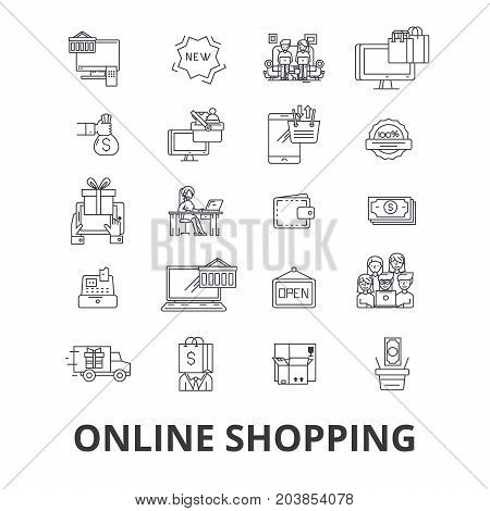 Buy online, shopping, internet store, ecommerce, cart, order, mobile retail line icons. Editable strokes. Flat design vector illustration symbol concept. Linear signs isolated on background