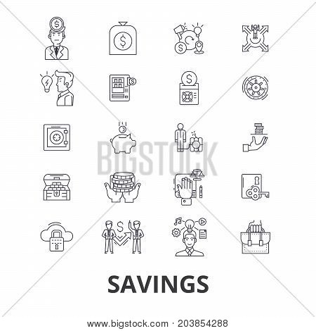 Savings, save money, piggy bank, money, sale, investment, discount, bank, coupon line icons. Editable strokes. Flat design vector illustration symbol concept. Linear signs isolated on background