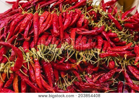 a bunch of hot red peppers .