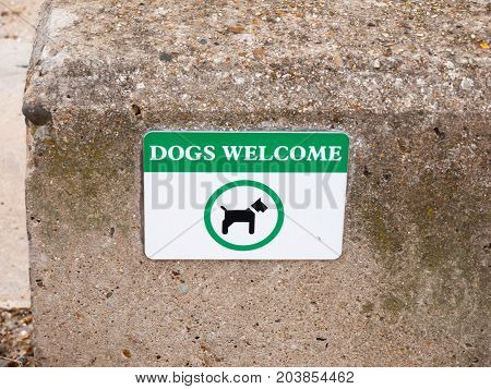 A Dogs Welcome Sign On Beach Front Wall