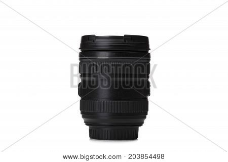 Modern camera photo lens, illustrated over white background. Professional photography equipment. Professional photographer work kit. Close-up photo lenses.